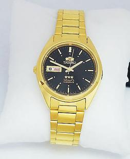 ORIENT 3 Star Automatic Watch Mens Gold tone watch Black dia