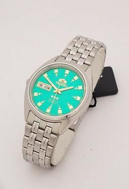 ORIENT 3 Star Automatic Watch Mens SILVER tone GREEN Dial FA