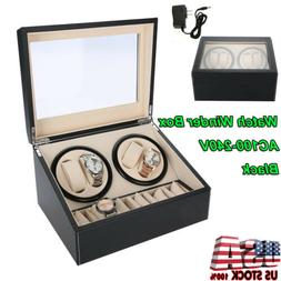 4+6 Automatic Rotation Leather Wood Watch Winder Storage Dis