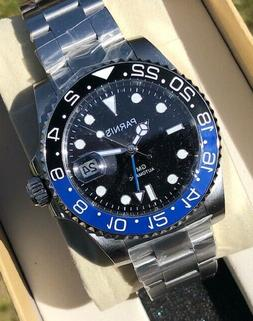 40mm black dial sapphire glass gmt date
