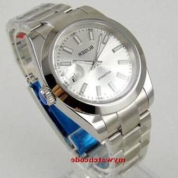40mm bliger silver dial solid case sapphire glass automatic