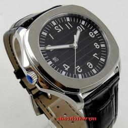40mm Bliger sterile black dial date sapphire glass automatic