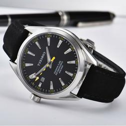 Corgeut 41mm black dial date sapphire Crystal Automatic move