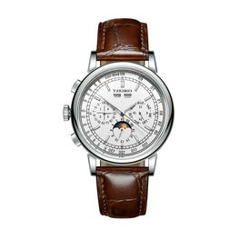 42mm corgeut white dial date day Moon Phase multifunction au