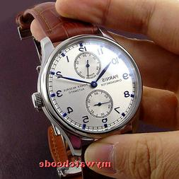 43mm PARNIS silver dial power reserve ST2542 automatic movem