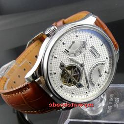 43mm PARNIS black dial date power reserve sea-gull 2505 auto