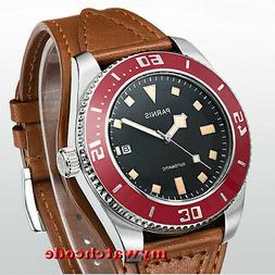 43mm Parnis black dial red bezel date miyota automatic divin