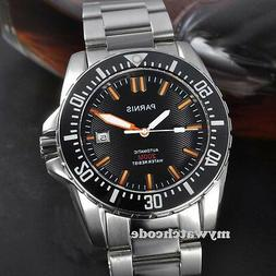 43mm PARNIS black dial Sapphire glass waterproof 200m automa