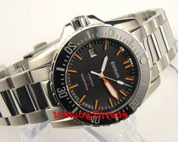 43mm PARNIS black dial Sapphire glass waterproof automatic d