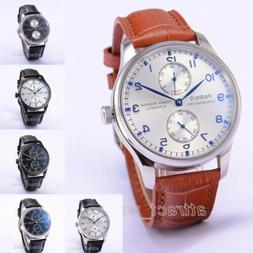 43mm Parnis Power Reserve Automatic Movement Mens Casual Wat