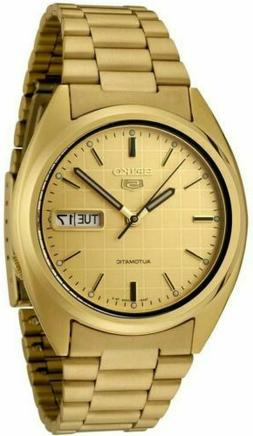 SEIKO 5 SNXL72 Mens Gold Plated Steel Automatic Gold Dial w