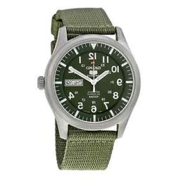 Seiko 5 Sport Automatic Khaki Green Canvas Men's Watch SNZG0