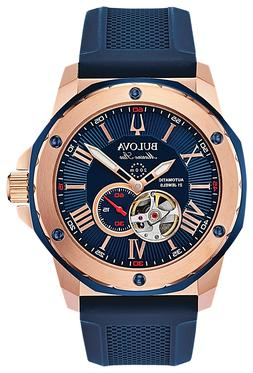 Bulova 98A227 Marine Star Automatic Watch Rose Gold Blue 200