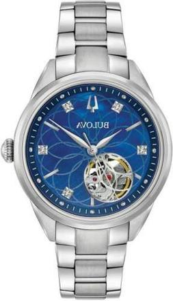 Bulova Women's Classic Diamond Automatic Open Heart Blue Dia