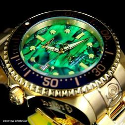 Invicta Grand Diver Green Abalone Gold Plated Steel 47mm Aut
