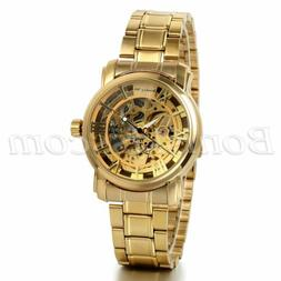 Men's Luxury Gold Tone Stainless Steel Skeleton Automatic Me