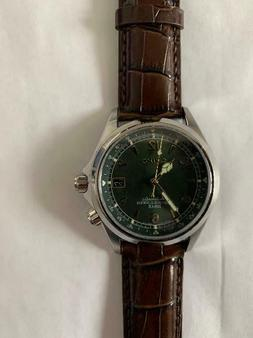 alpinist men s automatic watch brown green