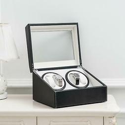 Automatic 4+6 Watch Winder Rotation Case PU Leather Display