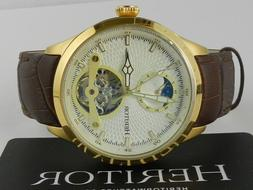 Heritor Automatic Gregory Semi-Skeleton Leather-Band Watch H