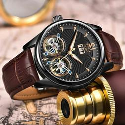 Automatic Mechanical Men Watch Dual Chronograph Leather Stra