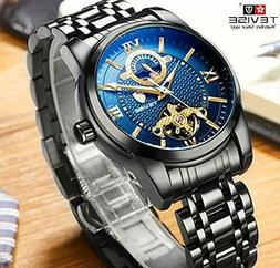 TEVISE Automatic Mechanical Mens Moon Phase Wrist Watch Blac