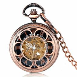 Automatic Mechanical Pocket Watch Hollow Flower Case Necklac