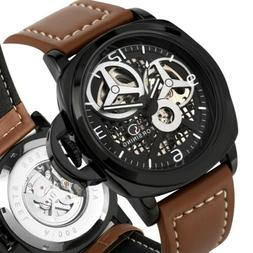 FORSINING NEW Skeleton Dial Automatic Mechanical Leather Ban