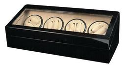 AUTOMATIC WATCH WINDER DISPLAY STORAGE CASE BOX BLACK WOOD D