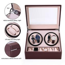 Brown Leather Watch Winder Storage Auto Display Case Box 4+6