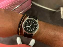 genuine 5 sport automatic black canvas strap