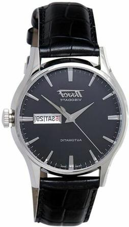 Tissot Men's Heritage VisoDate Black Dial Leather Strap Watc