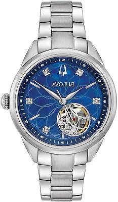 BULOVA $450 WOMEN'S DAZZLING DIAMONDS SILVER, BLUE DIAL  AUT