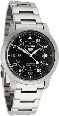 Seiko 5 Automatic Black Dial Silver Stainless Steel Mens Wat
