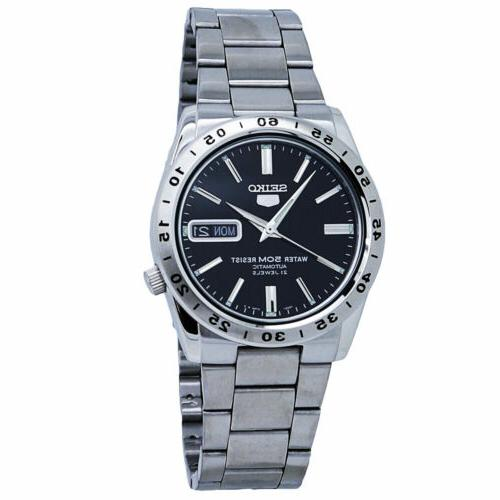 5 automatic black dial stainless steel men