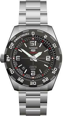 Seiko 5 Automatic Sports Stainless Steel Black Dial Mens Wat