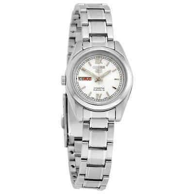 5 automatic white dial stainless steel ladies