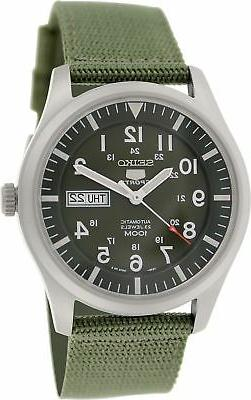 Seiko 5 Men's SNZG09K1 Sport Automatic Khaki Green Canvas Wa