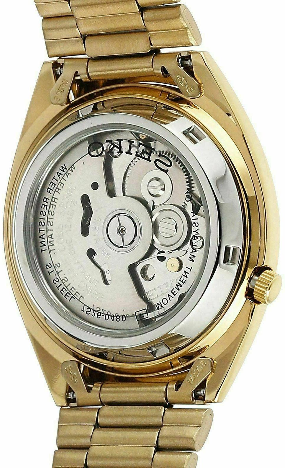 SEIKO SNXL72 Mens Gold Plated Steel Gold w Watch