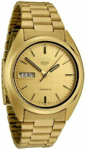5 snxl72 mens gold plated steel automatic