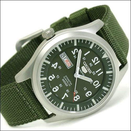 Seiko 40mm 5 Sports Automatic Watch with Green Canvas Strap,