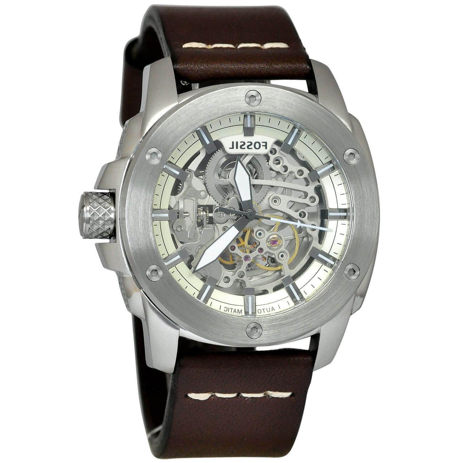 me3083 brown leather swiss automatic