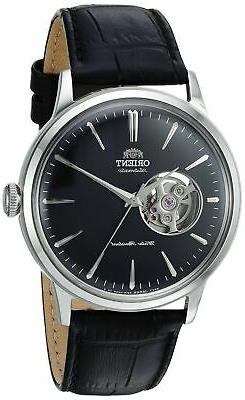 Orient Men's Open Heart Stainless Steel & Leather Automatic