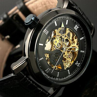 Mens Watch Automatic Black Stainless Steel Case Steampunk Sk