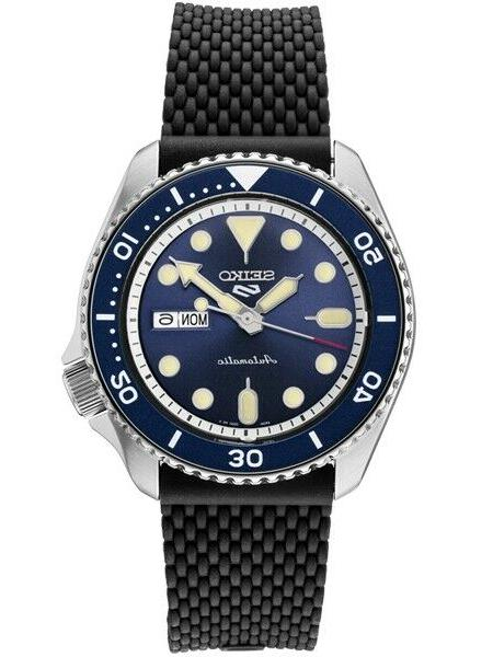 new 5 automatic blue dial rubber strap