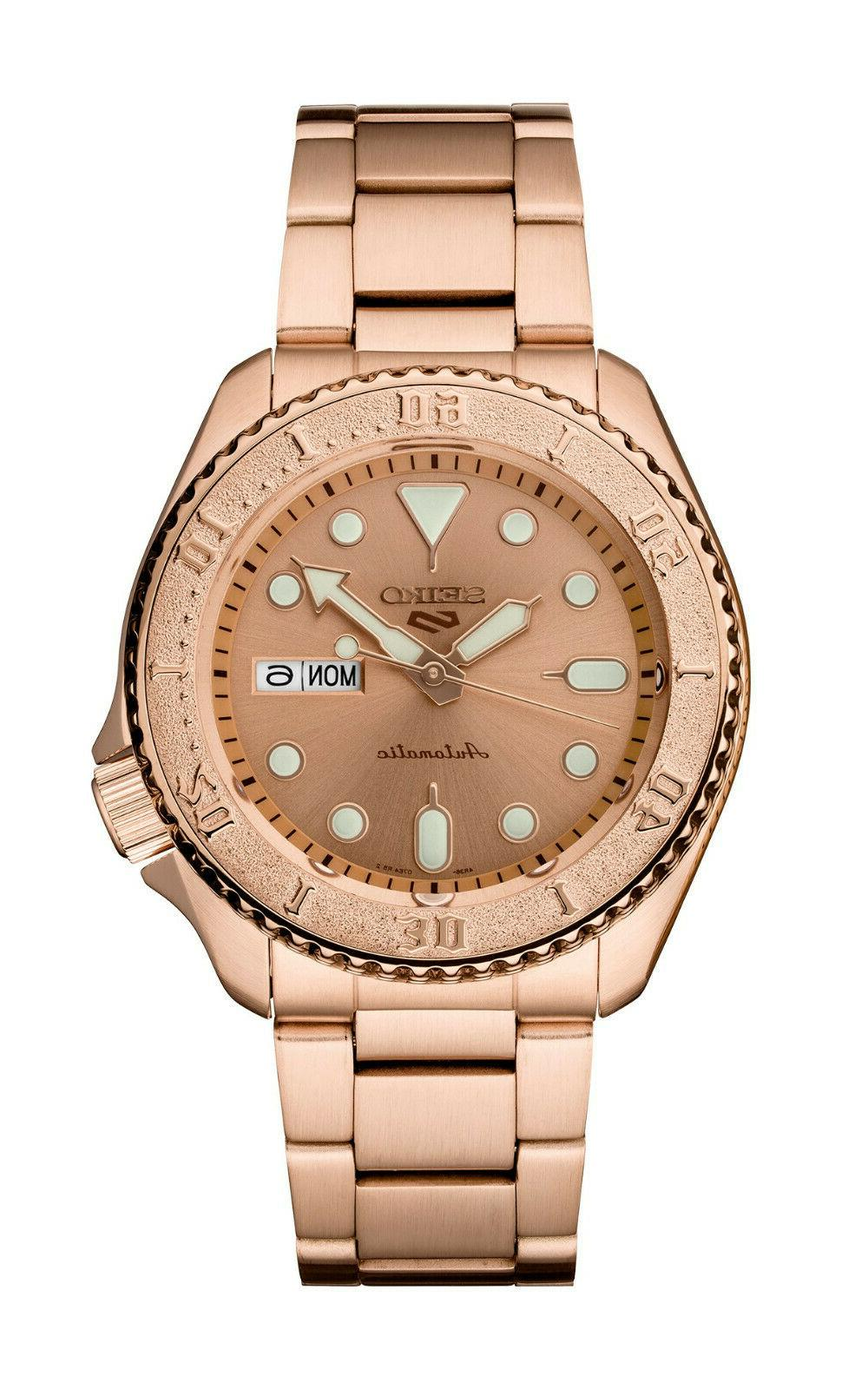 new 5 automatic rose gold tone steel