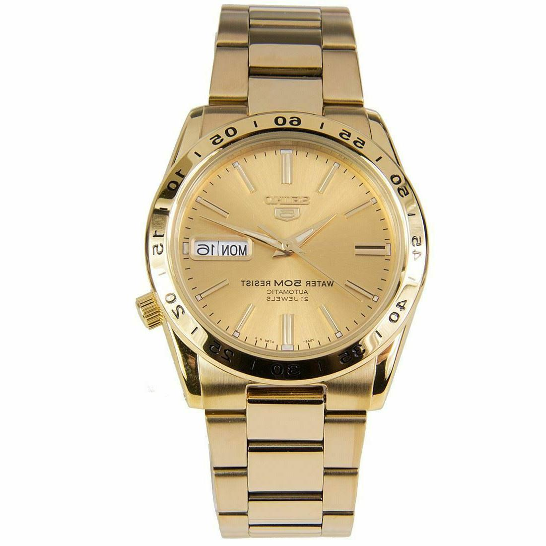 new 5 gold tone automatic watch 50m