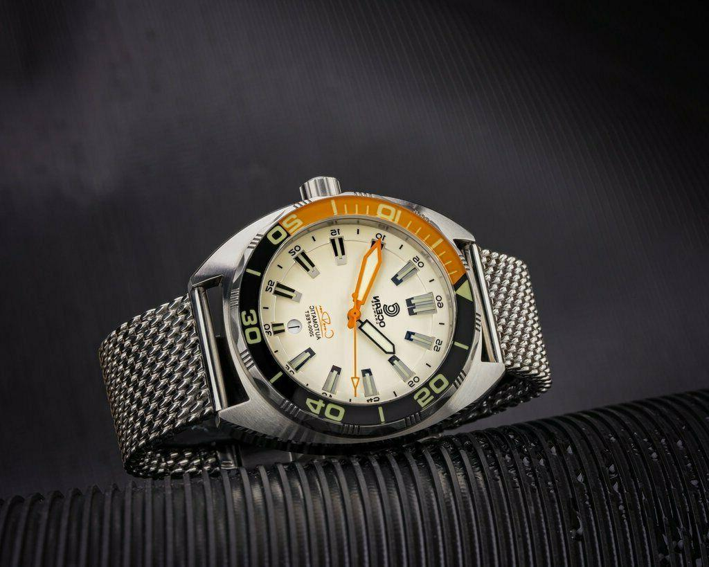 New Ocean Diver Swiss Automatic Lume Sapphire Mesh SS