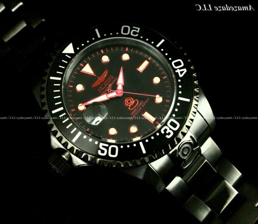 NEW Invicta Men 300M Black Dial Automatic Diver Stainless Steel Watch !!