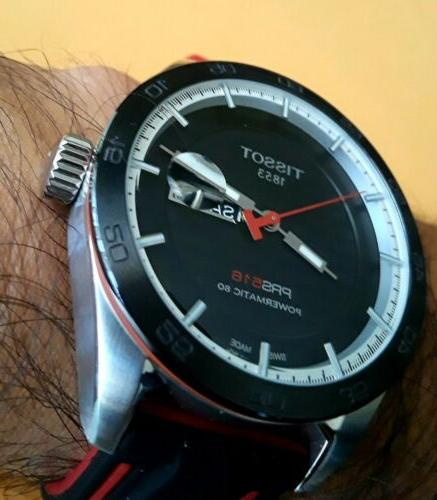 TISSOT PRS516 POWERMATIC 80 AUTOMATIC RED SILICONE/LEATHER