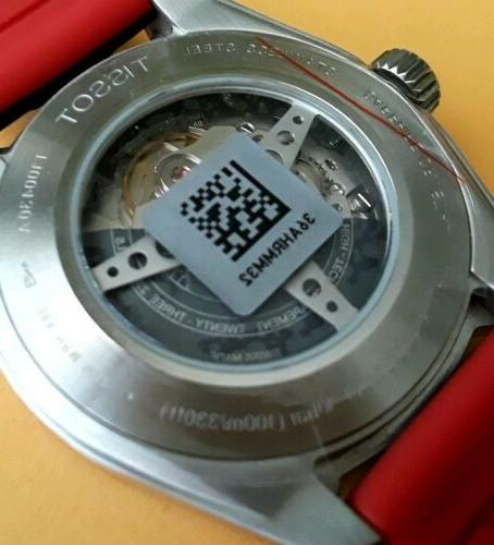 TISSOT POWERMATIC 80 AUTOMATIC SWISS 42mm RED SILICONE/LEATHER